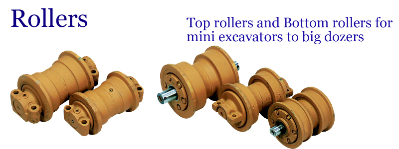 Rollers -- Top rollers and Bottom rollers for mini excavators to big dozers --